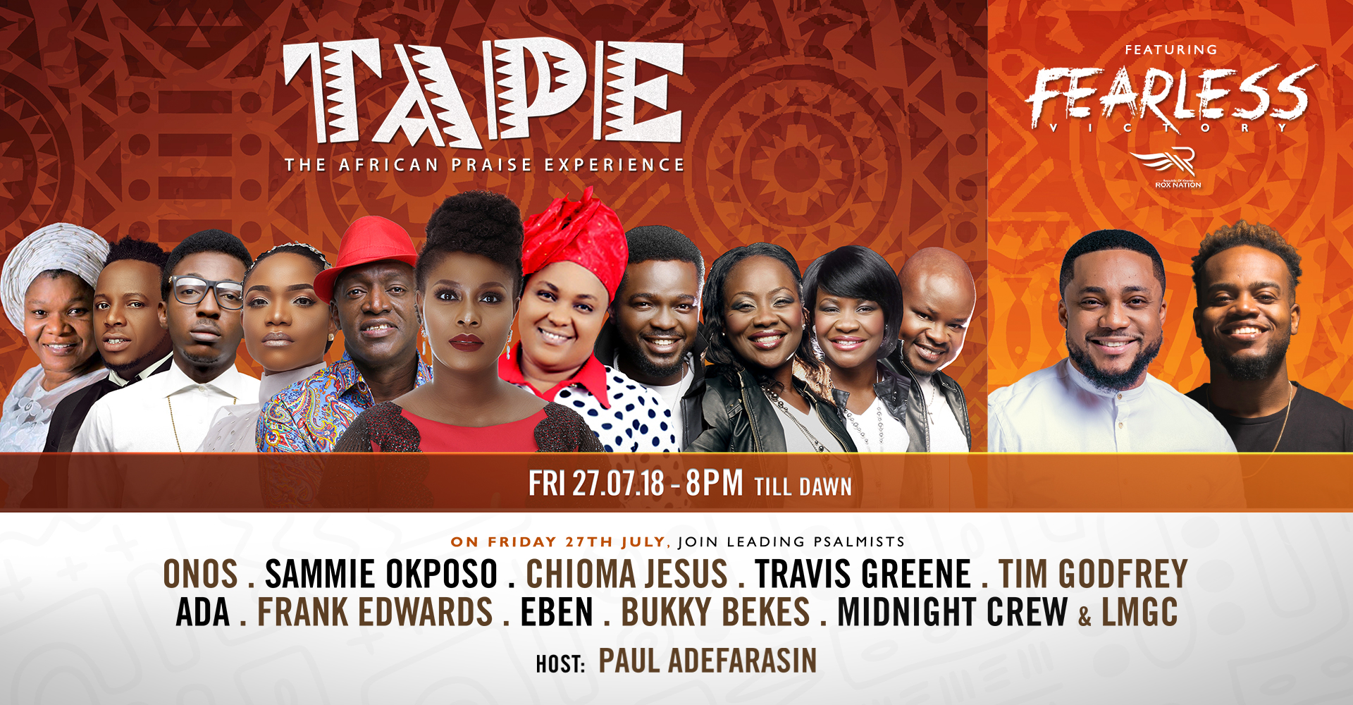 Pastor Paul Adefarasin to host The African Praise Experience (T.A.P.E.) & Travis Greene in Concert Friday, July 27th