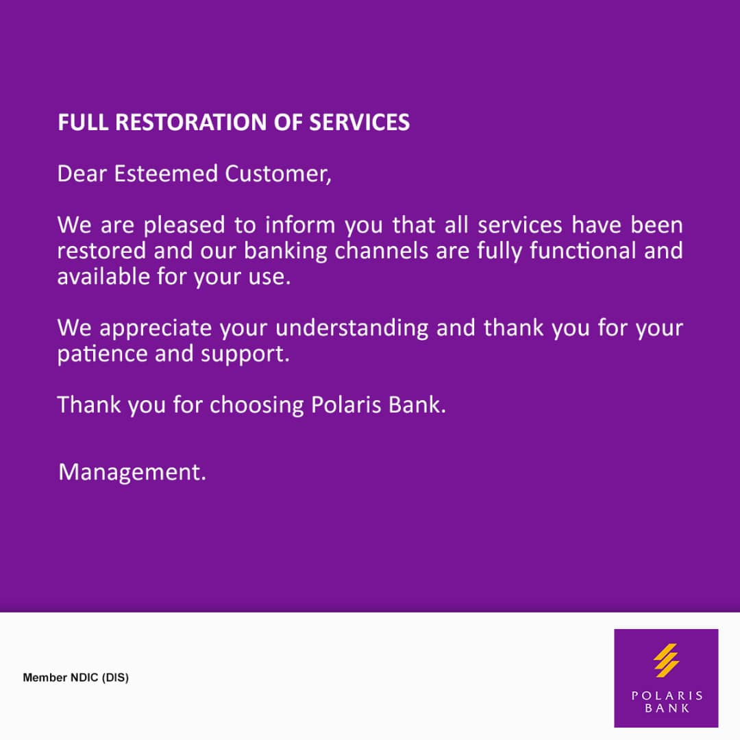 Polaris Bank restores full service to all banking channels